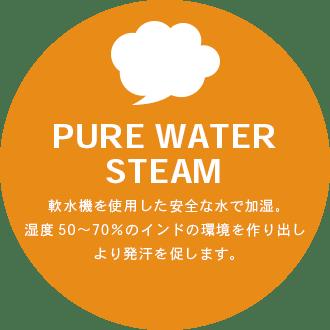 PURE WATERSTEAM 軟水機を使用した安全な水で加湿。湿度50?70%のインドの環境を作り出しより発汗を促します。